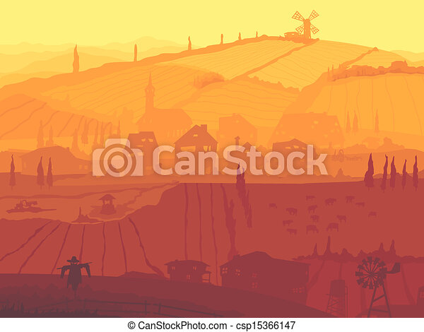 Abstract village in sunset. - csp15366147