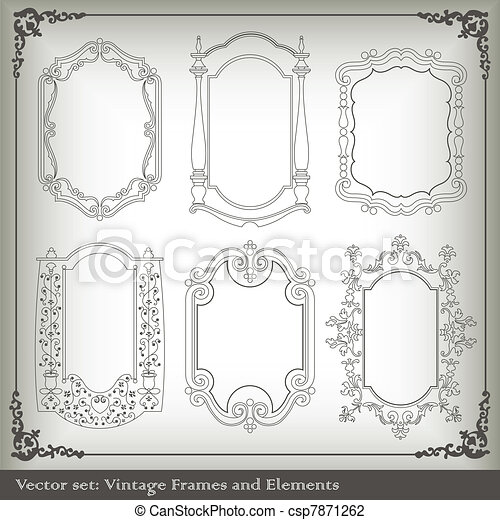 Abstract vintage frame and elements background vector illustration ...