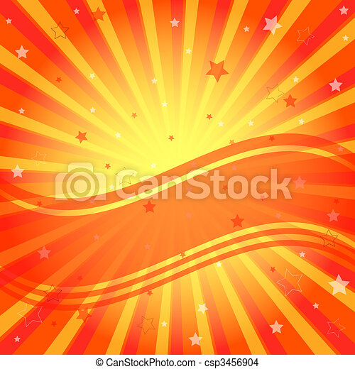 Abstract vivid orange background with rays - csp3456904