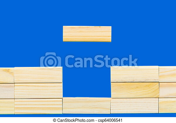 Abstract wall made of wooden blocks - csp64006541