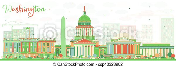 Abstract Washington DC Skyline with Color Buildings. - csp48323902