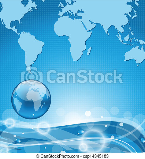 Abstract water background with earth  - csp14345183