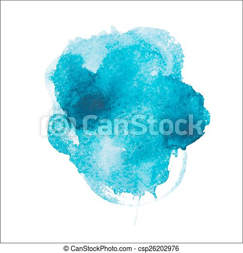 Abstract watercolor aquarelle hand drawn blue art paint on white background Vector illustration - csp26202976