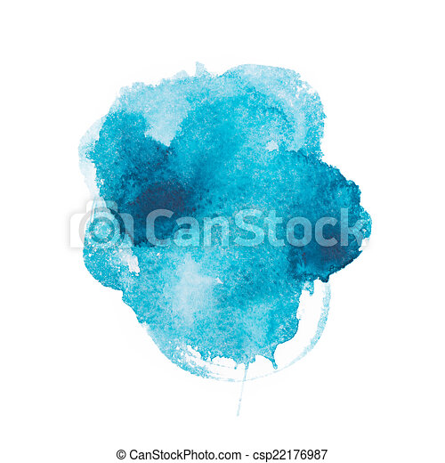 Abstract watercolor aquarelle hand drawn blue art paint on white background - csp22176987