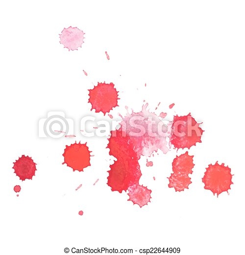 Abstract watercolor aquarelle hand drawn red blood drop splatter stain art paint on white background Vector illustration - csp22644909