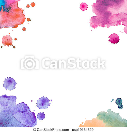 Abstract watercolor art hand paint on white background - csp19154829