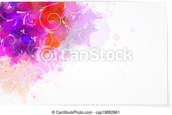 Abstract watercolor background with florals - csp19882961