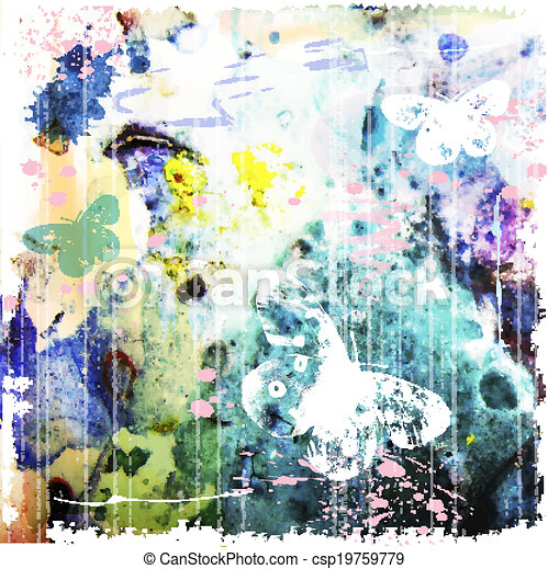 abstract watercolor background  with butterfly - csp19759779