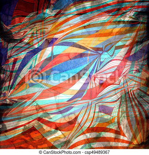 Abstract watercolor background with colorful wave - csp49489367