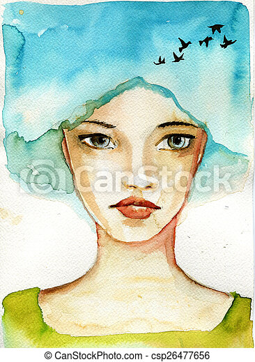 abstract watercolor illustration depicting a portrait of a woman - csp26477656