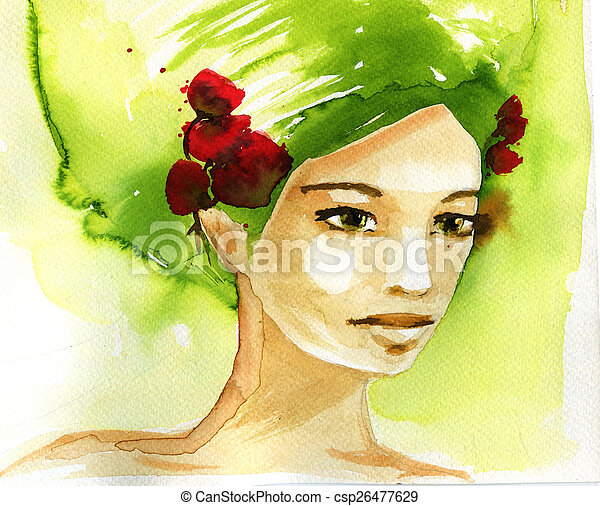 abstract watercolor illustration depicting a portrait of a woman - csp26477629