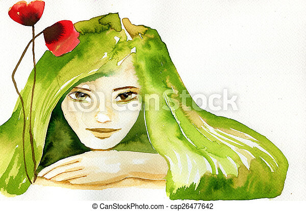 abstract watercolor illustration depicting a portrait of a woman - csp26477642