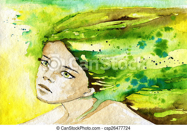 abstract watercolor illustration depicting a portrait of a woman - csp26477724