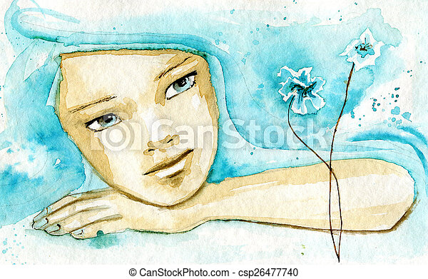abstract watercolor illustration depicting a portrait of a woman - csp26477740
