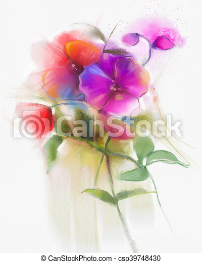Abstract Watercolor Orchid Flowers Painting