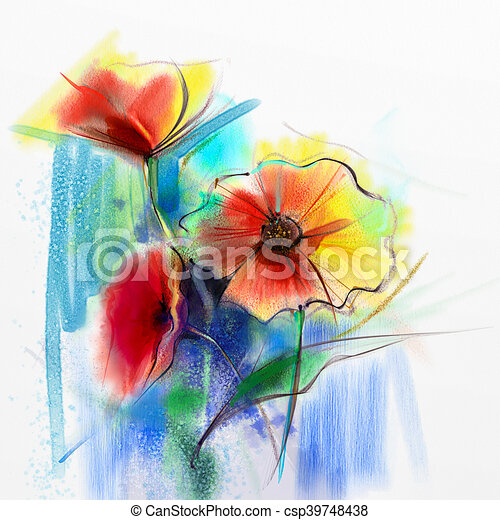 Abstract Watercolor Painting Of Spring Flower