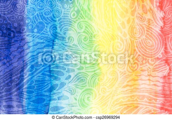 Abstract watercolor rainbow colors background - csp26969294