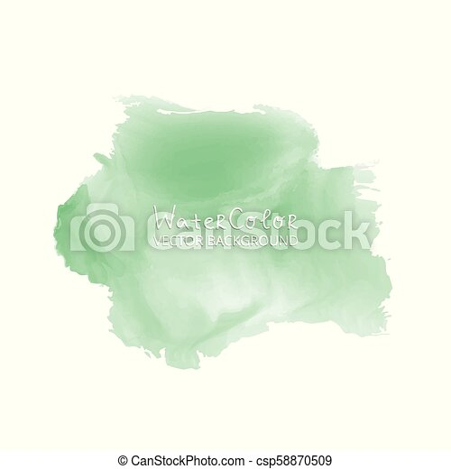 Abstract watercolor splash. Green Watercolor drop on white background. - csp58870509