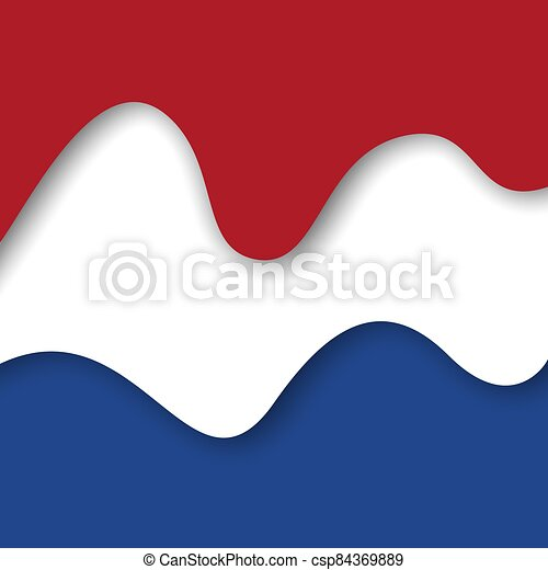 Abstract waving flag of netherlands. Paper cut style. Creative background for patriotic holiday card design. Graphic abstract background for poster. Vector illustration - flag of Netherlands. Banner - csp84369889