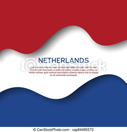 Abstract waving flag of netherlands. Paper cut style. Creative background for patriotic holiday card design. Graphic abstract background for poster. Vector illustration - flag of Netherlands. Banner - csp84495572