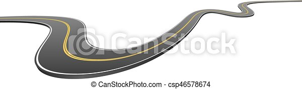 Abstract wavy asphalt road going from side to side - csp46578674