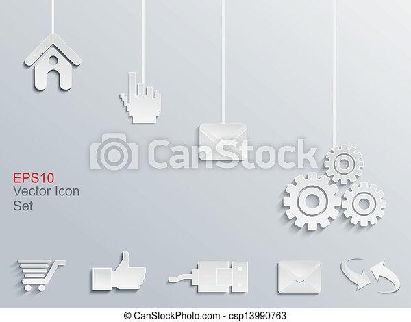 abstract web icon set vector - csp13990763