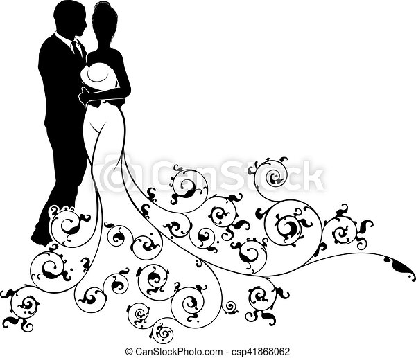 Abstract Wedding Pattern Bride And Groom Silhouette A Bride And