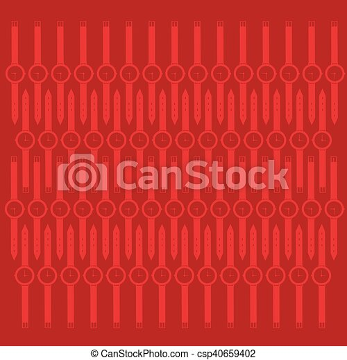 Abstract Whist Watch Contour Over Red Background - csp40659402