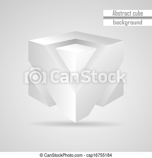 abstract white 3d cube vector - csp16755184