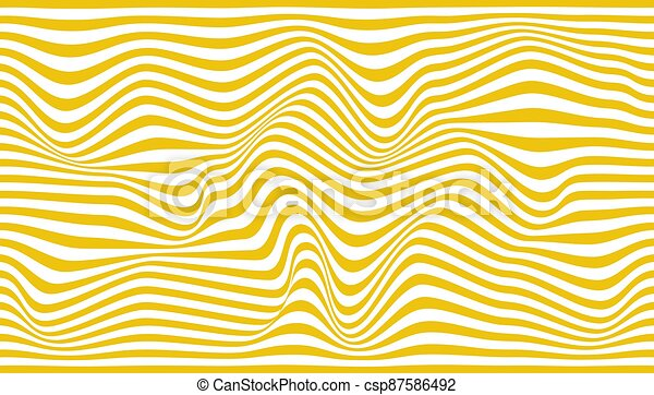 Abstract white background of wavy yellow lines. Vector illustration. - csp87586492