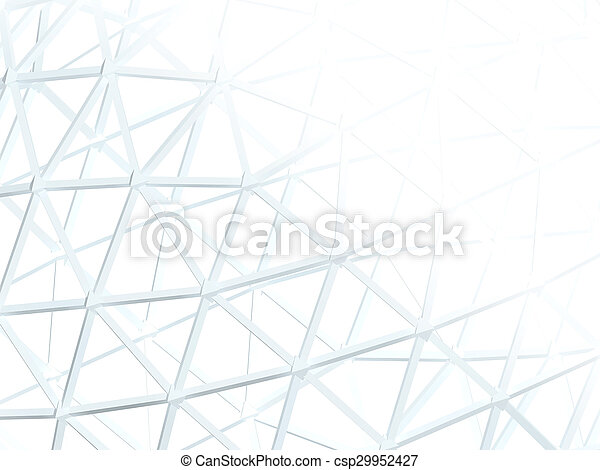 Abstract white background with 3d lattice - csp29952427