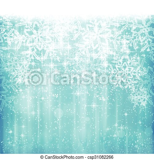 Abstract white blue Christmas, winter snowflake background - csp31082266