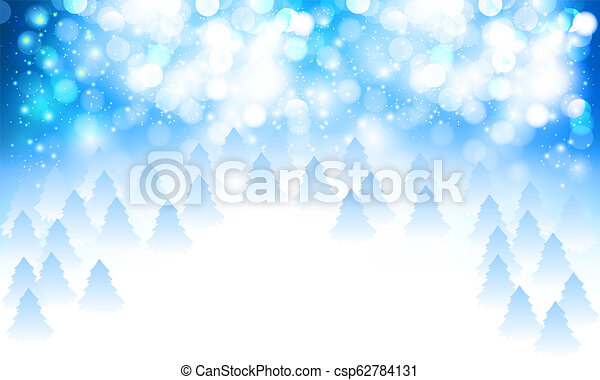abstract white blue snowy bokeh and christmas trees background - csp62784131