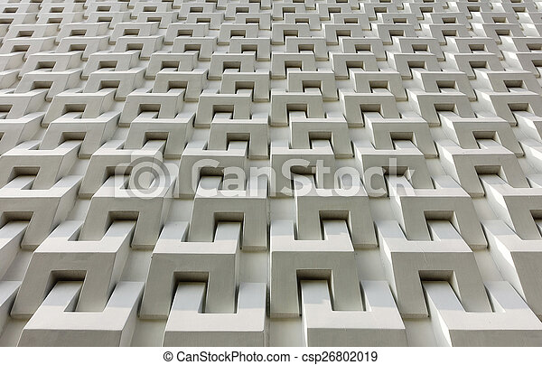 Abstract white cement block wall pattern - csp26802019