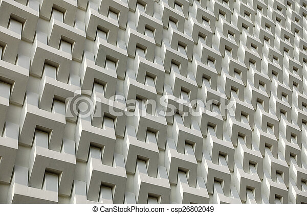 Abstract white cement block wall pattern - csp26802049