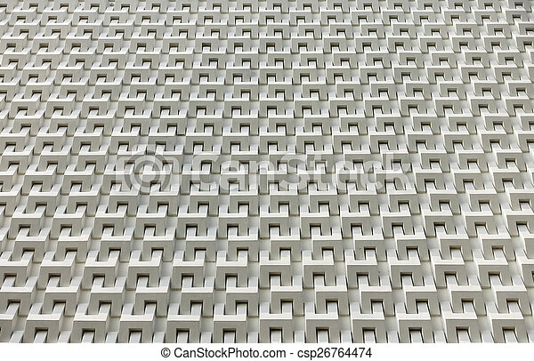 Abstract white cement block wall - csp26764474