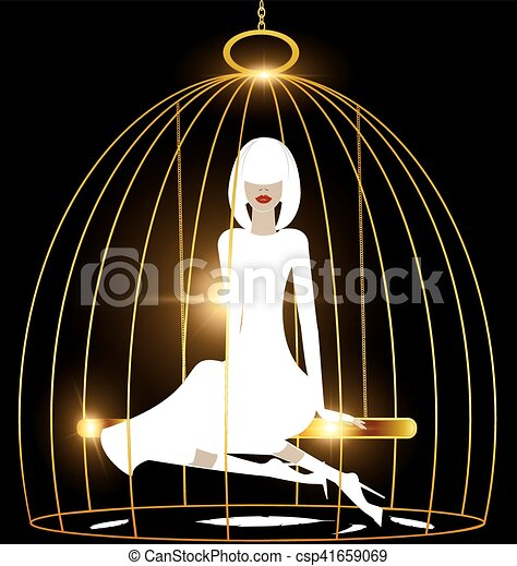 abstract white lady and golden cage - csp41659069