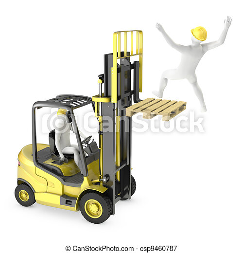 Abstract white man falling from lift truck fork - csp9460787