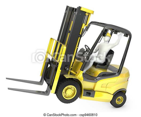 Abstract white man in a fork lift truck, balancing on rear wheels, isolated on white background - csp9460810