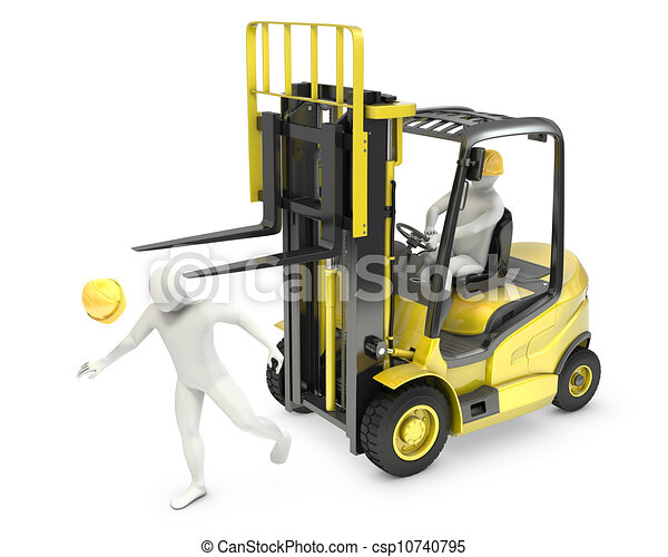 Abstract white man was hit by lift truck fork - csp10740795