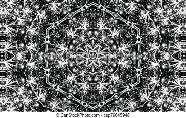 abstract white ornament of fractal hexagonal pattern - csp76645948