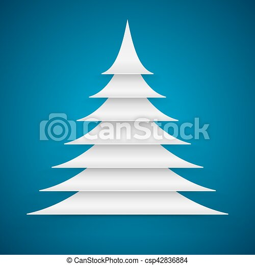 Abstract white paper cut Christmas tree on blue background. - csp42836884