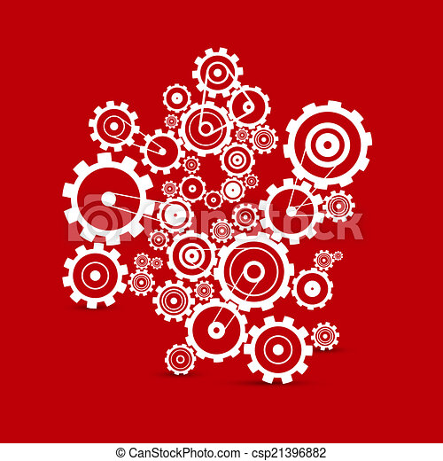 Abstract white vector cogs - gears on red background - csp21396882