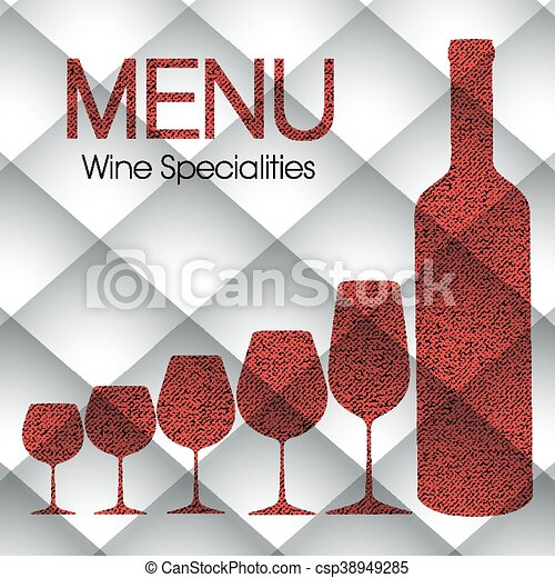 Abstract Wine Menu Template For Restaurants Bars And  Vector