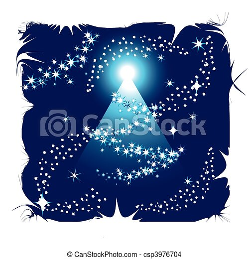 Abstract winter background with christmas tree - csp3976704