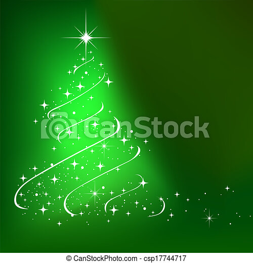 Abstract winter background with stars Christmas tree - csp17744717