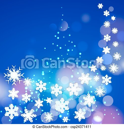 Abstract winter blue background with snowflakes and Christmas tree. - csp24371411