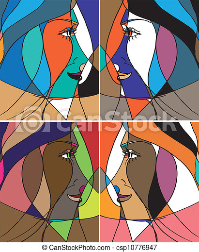 Abstract woman face. Vector illustration - csp10776947