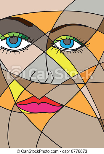 Abstract woman face. Vector illustration - csp10776873
