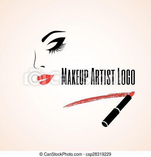 Abstract woman face with closed eye. Trace of lipstick. Makeup artist logo. - csp28319229